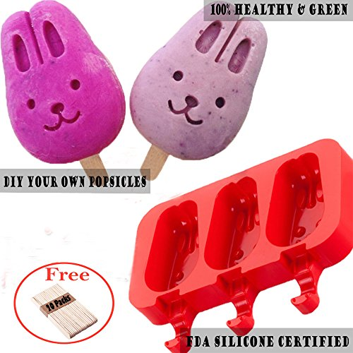 Silicone ICE POP Mold,DiDaDi 3 Cavities Cute ICE CAREM Bar Mould,Popsicle Molds DIY ICE CREAM Maker,Silicone Jelly Chocolate Candy Soap Molds with 20 Wooden Sticks - Bunny