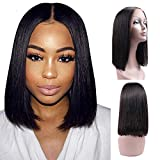 Ucrown Hair 13x4 Lace Front Short Bob Wigs Brazilian Straight Human Hair Wigs For Black Women 130% Density Pre Plucked with Baby Hair Natural Black (12inch)