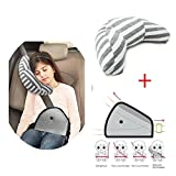 Car Seat Pillow Kids, Car Seat Travel Pillow Neck Support Cushion Pad and Seatbelt Adjuster for Kids, Safety Belt Sleeping Pillow and Adjuster for Cars, Safety Strap Covers