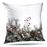 Soopat Decorative Throw Pillow Cover Square Cushion 16'X16' Art Christmas Card Tree Winter Berry White Red Greeting Branch Pillowcase Home Decor Kitchen Garden Sofa