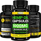 Hemp Oil Capsules - 1000 MG of Pure Hemp Extract per Serving - Pain, Stress & Anxiety Relief - Natural Sleep & Mood Support - Made in The USA - Extra Strength, Maximum Value - Rich in Omega 3, 6, 9.