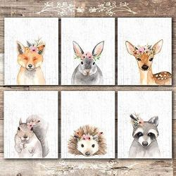 Woodland Animals Nursery Wall Art Prints (Set of 6) – Unframed – 8x10s
