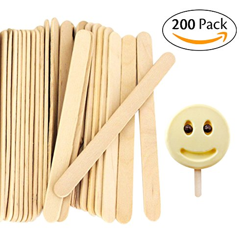 Acerich 200 Pcs Craft Sticks Ice Cream Sticks Wooden Popsicle Sticks 4-1/2