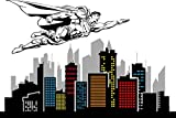 "ChicWalls Removable City Skyline Building Superman Flying Wall Art Decor Decal Vinyl Sticker Mural Superhero Marvel Kids Bedroom 80"" X 46"""