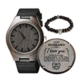 Engraved Wooden Watch for Husband,Natural Wooden Watch for Men Natural Ebony Customized Wood Watch Valentine's Birthday Christmas Gift (for Husband)
