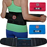 Back Support Belt & Lower Back Brace by Old Bones Therapy : Back Pain Relief for Sciatica, Scoliosis, Herniated Disc & Degenerative Disc Disease. Includes 1 Back Brace + 2 Ice Heat Packs