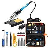 Anbes Soldering Iron Kit Electronics, 60W Adjustable Temperature Welding Tool, 5pcs Soldering Tips, Desoldering Pump, Soldering Iron Stand, Tweezers