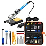 Anbes Soldering Iron Tool Kit with PU Carry Bag,60W Adjustable Temperature Welding Iron,5pcs Tip,Desoldering Pump,Tin Wire Tube,Soldering Iron Stand,Tweezers,Wire Stripper Cutter,2pcs Electronic Wire