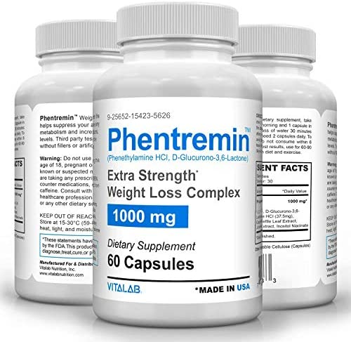 Phentremin1000mg, Extra Strength Weight Loss Complex, Best Appetite Suppressant, 37.5, 60 Capsules 1