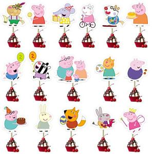 KRUCE 32 PC Cartoon Pig Cake Toppers For Cupcake Topper for Kids Gift Birthday Party supplies Decor 51ur6OlPeJL