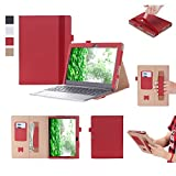 UTRO Lenovo Miix 320 Case – Premium Flip Stand PU Leather Smart Cover Case Shell with Hand Strap, Pocket, Elastic Band and Card Slots for Lenovo Miix 320 10.1' Tablet (Red)