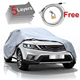 5 Layer Car Cover SUV Cover - KAKIT Durable Waterproof Windproof for Summer Outdoor, Rain, Dust, Sun UV All Weather Prevention, Windproof Ribbon & Anti-theft Lock, Fits up to 180' SUV