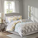 Madison Park Essentials Central Park Full Size Bed Comforter Set Bed In A Bag - Yellow, Aqua, Grey, Leaf – 9 Pieces Bedding Sets – Ultra Soft Microfiber Bedroom Comforters