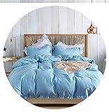 Heart to hear-pillowcase-and-sheet-sets Bedding Set Elegant Ruffles Edge Duvet Cover Set 2pcs 3pcs Bed Linen Quilt Cover Twin Queen King Wedding Gift,Light Blue,US Queen 3pcs