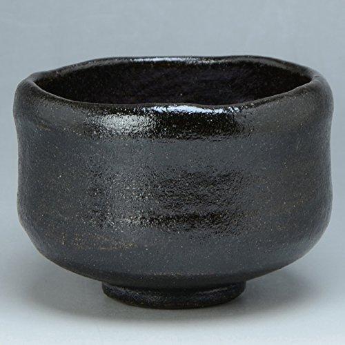 Kiyomizu-kyo yaki ware. Japanese kuro raku Matcha chawan teabowl Zuisho with paper box. Ceramic. kymz-TRR452