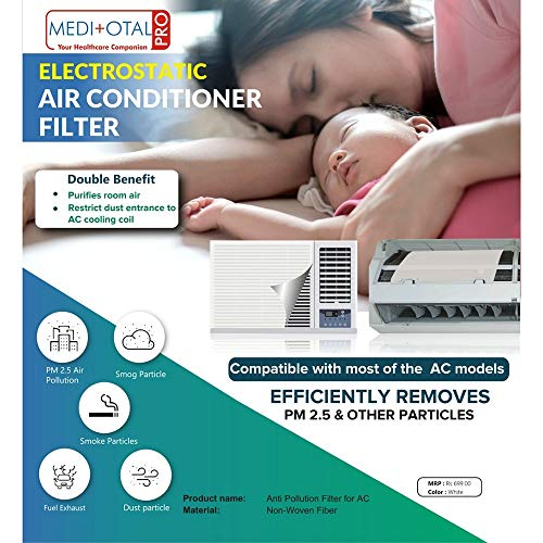 51uuW%2BB98tL - Meditotalpro Anti Pollution Filter for Converting Split AC into Air Purifier - Pack of 4 Filters