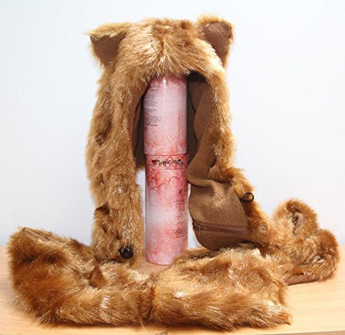 Fox Full Hood Animal Hat Faux Fur 3 In1 Function