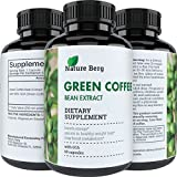 Natural Raw Green Coffee Bean Extract - Extra Strength Pure Premium Antioxidant Beans - 800 mg Max Fat Burner Supplement + Super Cleanse Pills for Weight Loss Benefits + Reviews - Nature Berg