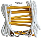 ISOP Emergency Fire Escape Ladder 16 ft (2 Story) Flame Resistant Safety Rope Ladder With Hooks – Fast To Deploy & Easy To Use - Compact & Easy to Store - Reusable - Weight Capacity up to 2500 Pounds