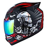 1STORM MOTORCYCLE BIKE FULL FACE HELMET MECHANIC SKULL - Tinted Visor RED Size (L 57-58 CM 22.4/22.8 Inch)