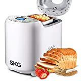 SKG Automatic Bread Machine, Gluten Free Loaf Maker, 19 Programs with Bread Recipes, 15hrs Delay Timer 1h Keep Warm, Beginner Friendly, White
