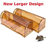 CaptSure Original Humane Rodent Traps, Easy to Set, Kids/Pets Safe, Reusable for Indoor/Outdoor use, for Small Rodent/Voles/Hamsters/Moles Catcher That Works. 2 Pack (Large)