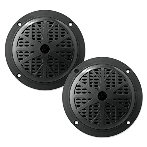 4 Inch Dual Marine Speakers - Waterproof and Weather Resistant Outdoor Audio Stereo Sound System with Polypropylene Cone, Cloth Surround and Low Profile Design - 1 Pair - PLMR41W (Black)