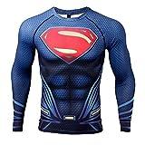 COOLMAX Upgrade Raglan Sleeve Superman 3D Printed T-Shirt Men Compression Shirt (X-Large, Dark Blue)