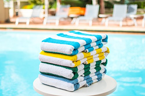 """100% USA Cotton Cabana Stripe Beach Towel Or Pool Towel Family Value 4 Pack Blue Turquoise Green Yellow. 100% USA Cotton 33' x 66."""" Sold to major hotel chains across the USA & Caribbean."""