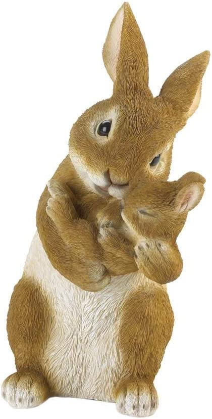 Amazon Com Dms Realistic Detailed Mommy And Baby Bunny Rabbit Statue Indoor Or Outdoor 10 Tall Garden Outdoor