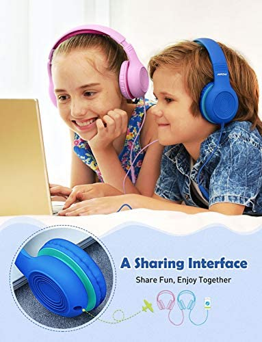 Mpow CH6S Kids Headphones with Microphone Over Ear, On Ear Headphones for Kids with HD Sound Sharing Function for Children Boys Girls, Volume Limit Safe 85dB,94dB Headset for School, Travel 15