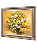 """DecorArts- Yellow roses and lilies, Classic Art Reproduction. Giclee Print& Museum Quality Framed Art. 24x30"""", Outside Size: 30x36"""""""