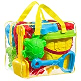 FoxPrint Beach sand toy set Models and Molds Bucket, Shovels, Rakes & Reusable Zippered Bag, etc. will keep your child motivated for hours, colors may vary.
