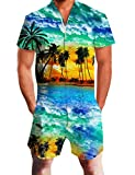 Uideazone Funky Shorts for Men Short Sleeve One Piece Romper Jumpsuit Beach,Hawaii,X-Large
