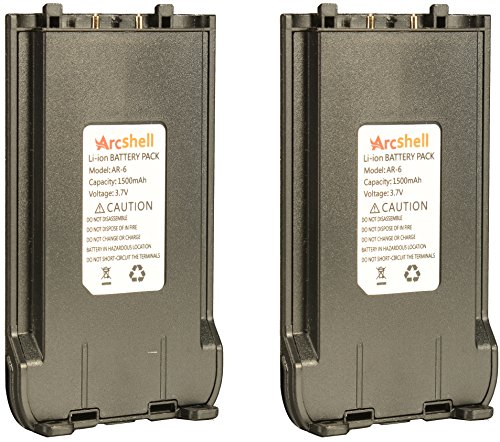 Battery Replacement for Arcshell AR-6 Walkie talkies (2 Pack)