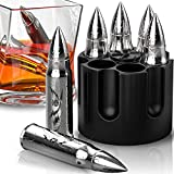Bullet Shaped Metal Whiskey Stones - 6-Pack Stainless Steel Whiskey Rocks   Metal Ice Cubes to Chill Bourbon, Scotch in Your Whisky Glass - Cool Gifts for Men, Father's Day, Christmas Stocking Stuffer