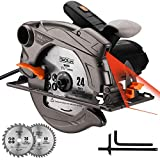"Circular Saw, 7-1/4""(7-1/2"") Saw with Lightweight Aluminum Guard, 10feet Cord Length, Laser Guide, Max Cutting Depth 2-1/2''(90°), 1-4/5''(45°), 2 Blades -Tacklife PES01A"