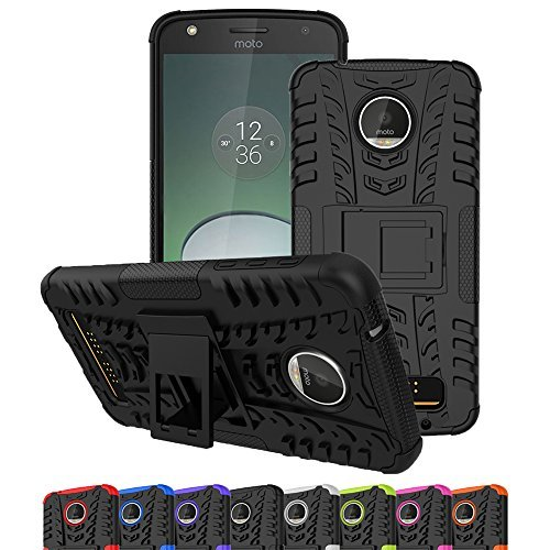 Moto Z Play Droid Case, Moto Z Play Case, Viodolge [Shockproof] Hybrid Tough Rugged Dual Layer Protective Case Cover with Kickstand for Motorola Moto Z Play Droid (2016-Verizon) (black)