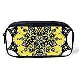 Yellow Mandala Multifunctional Pencil Bag,Antique Asian Kaleidoscope Eastern Nature Elements Retro Romantic Decorative for Birthday Festival,8'L x 1' W x 4'H