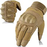 AXBXCX Touch Screen Military Rubber Hard Knuckle Tactical Gloves Full Finger Hunting Cycling Motorcycle Training Army Shooting Motorbike Airsoft Paintball Gloves Brown XL