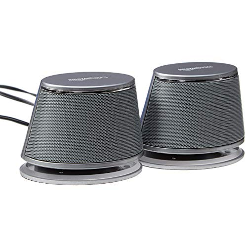 AmazonBasics USB-Powered PC Computer Speakers with Dynamic Sound   Silver, 4-pack