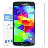 Galaxy S5 Screen Protector, Maxboost [Tempered Glass] Screen Protector for Samsung Galaxy S5-0.2mm Ballistic Glass Screen Protection Case Fit 99% Touch Accurate - Clear