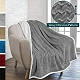 PAVILIA Premium Chevron Sherpa Throw Blanket for Couch Sofa | Super Soft, Plush, Fuzzy Lap Blanket | Reversible Textured Velvet Grey Throw | 50x60 Inches All Season