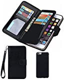 Black Friday Clearance Sale 2016 For iPhone 5/5s Wallet Case,Valentoria Leather Wallet Case Magnetic Detachable Slim Back Cover Card Holder Slot Wrist Strap Case (iPhone 5/5s, Black)