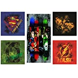 Modern Littles Justice League 5 Piece Canvas Wall Art Set Featuring Superhero Character Designs of Superman, Batman, Green Lantern and Flash Gordon, Multicolored