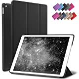iPad Air 2 Case, ROARTZ Black Slim Fit Smart Rubber Coated Folio Case Hard Shell Cover Light-Weight Auto Wake/Sleep for Apple iPad Air 2nd Generation A1566/A1567 Retina Display