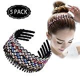 ZOCONE Wave Rhinestone Headbands 5 PCS Teeth Comb Headbands Comb Crystal Hair Hoop for Women Girls