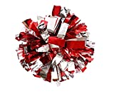 13' cheerleading Metallic Foil & Plastic Ring Pom Poms pack of 2 (100g) (red with silver)