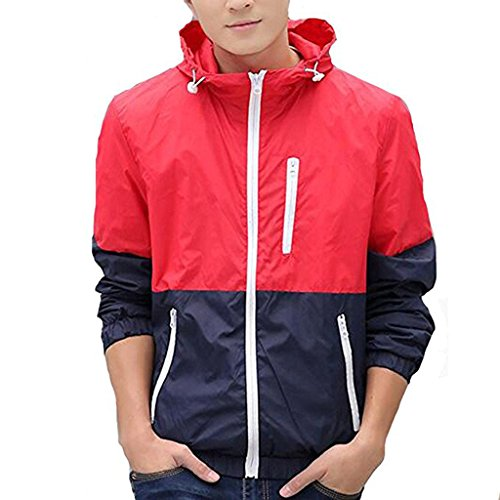 Stunner Men's Spring Casual Light Jacket with Hood FBA Red M