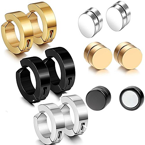 12pcs 9MM Non-pierced Hoop Earrings,8MM Magnetic Fake Gauges Earrings Studs
